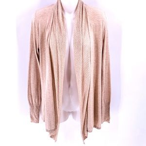 ANGEL OF THE NORTH Beige Pointelle Draped Cardigan